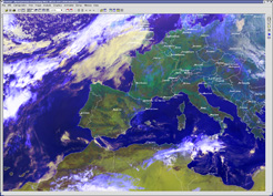 MSG color composite of Europe with borders and cities